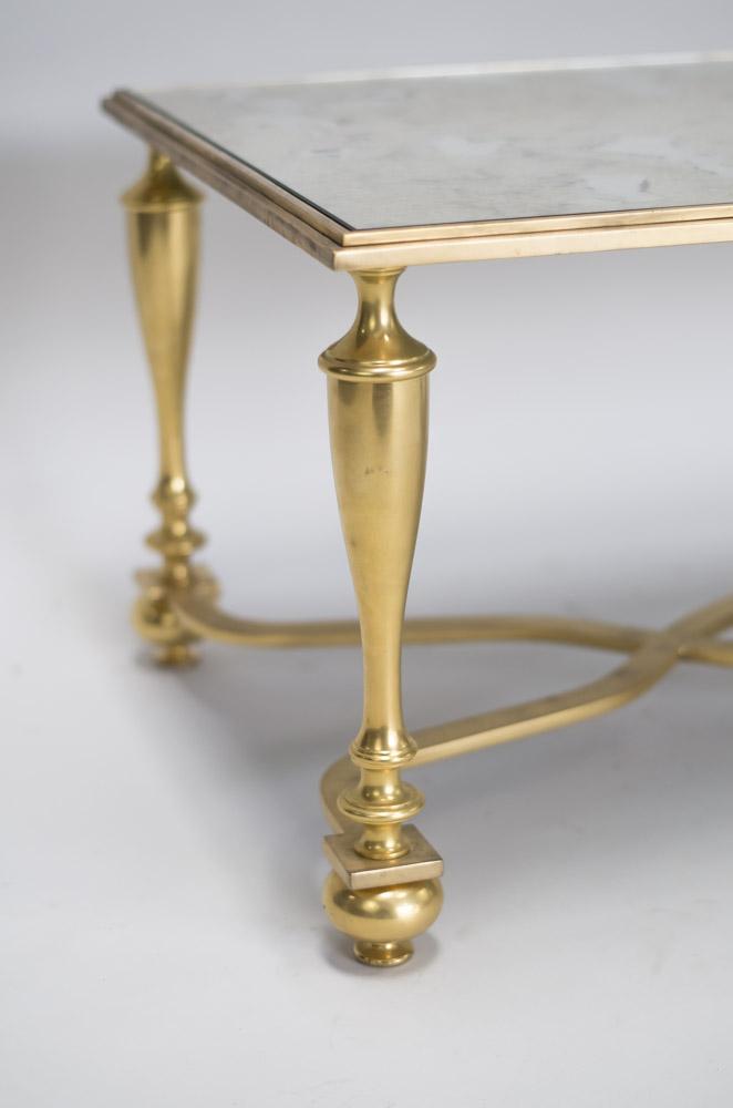 table basse bronze doré pied balustre
