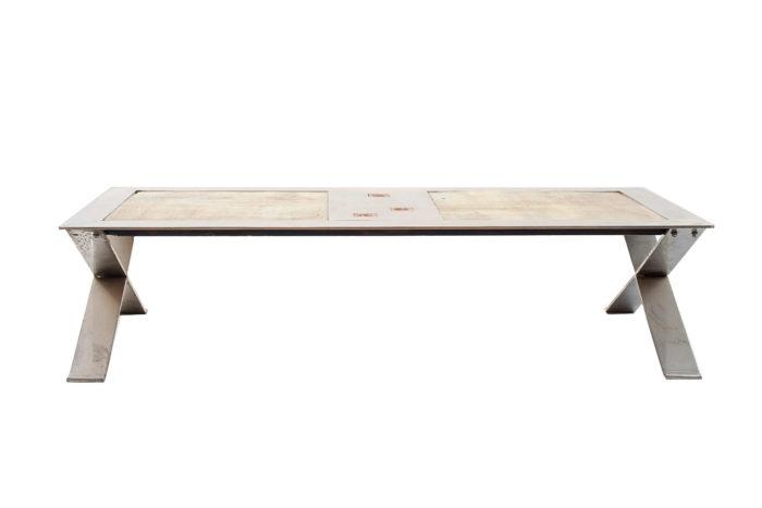 table basse métal chromé céramique faïence