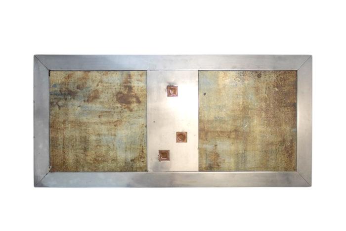 table basse métal chromé céramique faïence plateau