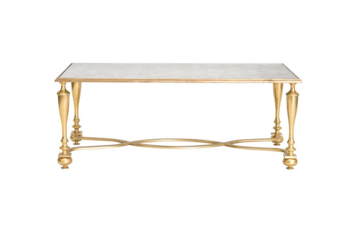 gilt bronze coffee table oxidized mirror