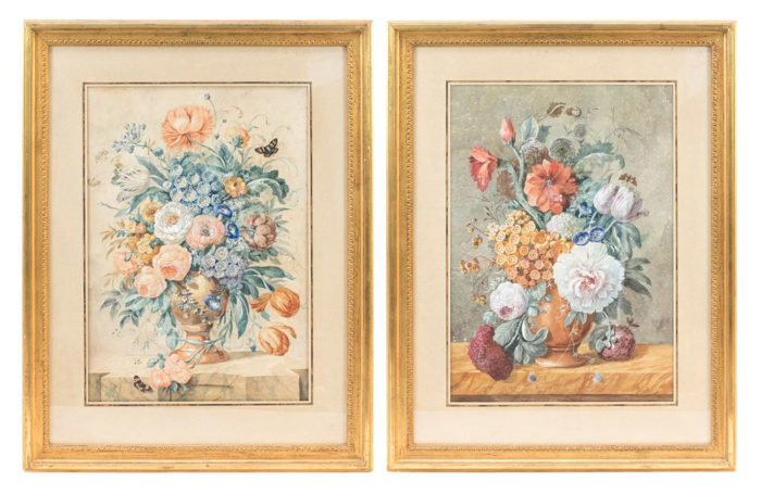 gouaches flowers bouquets dutch style