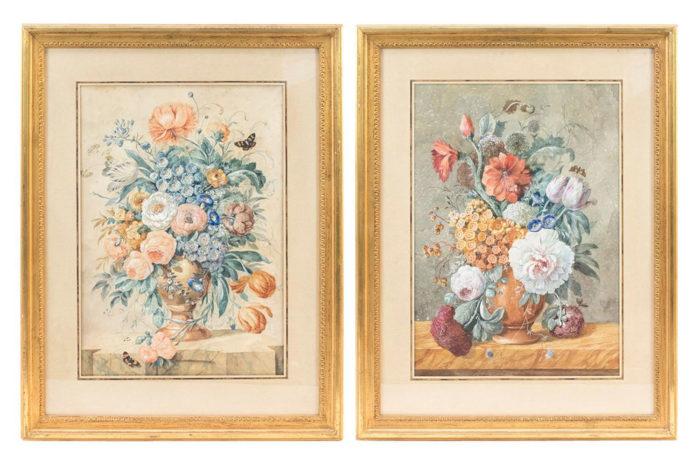 paire gouaches fleurs style hollandais
