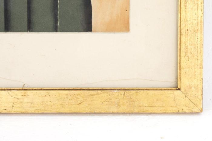 cadre bois doré gravure léger