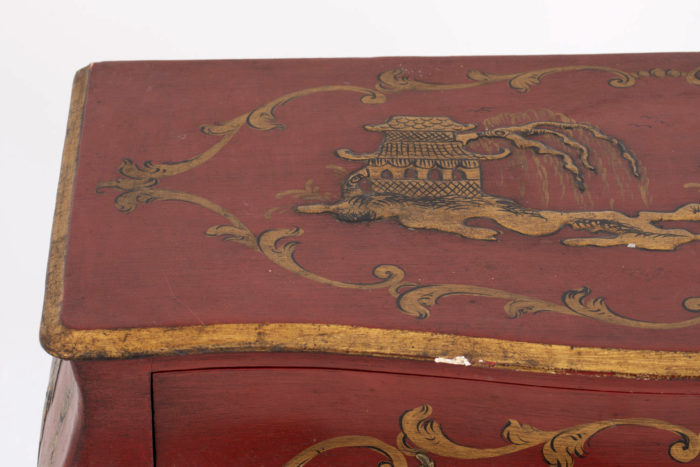 commode rouge detail manque plateau