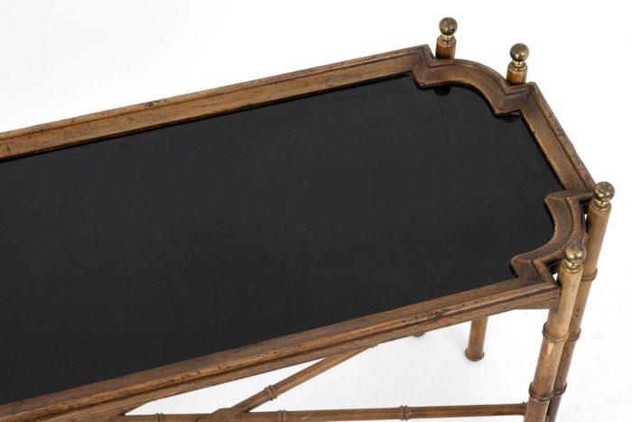 console hêtre bambou vernis noir detail dessus 2