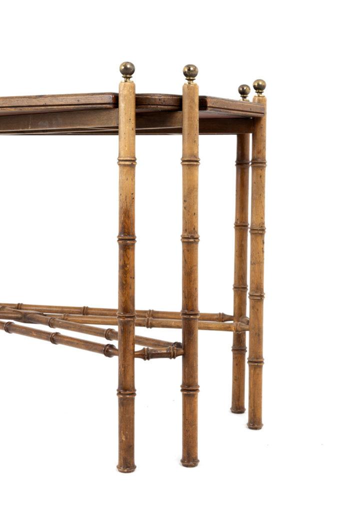 console hêtre bambou vernis noir pieds