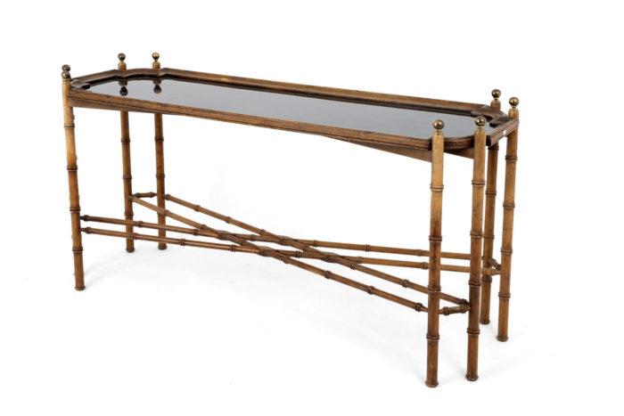 console hêtre bambou vernis noir trois quart
