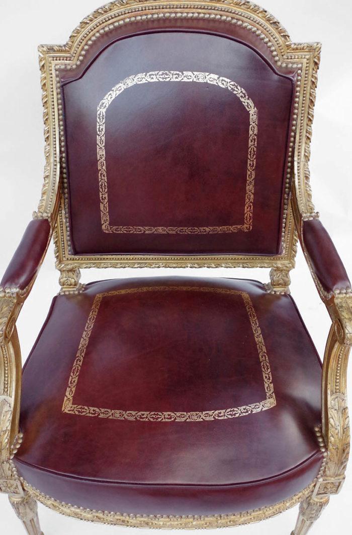 fauteuil louis xvi asise cuir acajou