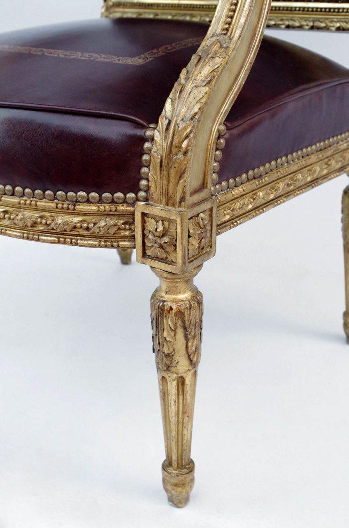 fauteuil louis xvi pied feuille d'acanthes