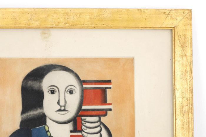 gravure villon leger cadre bois doré