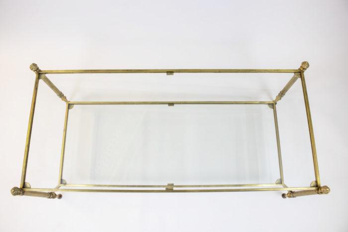 maison jansen table basse laiton doré dessus verre