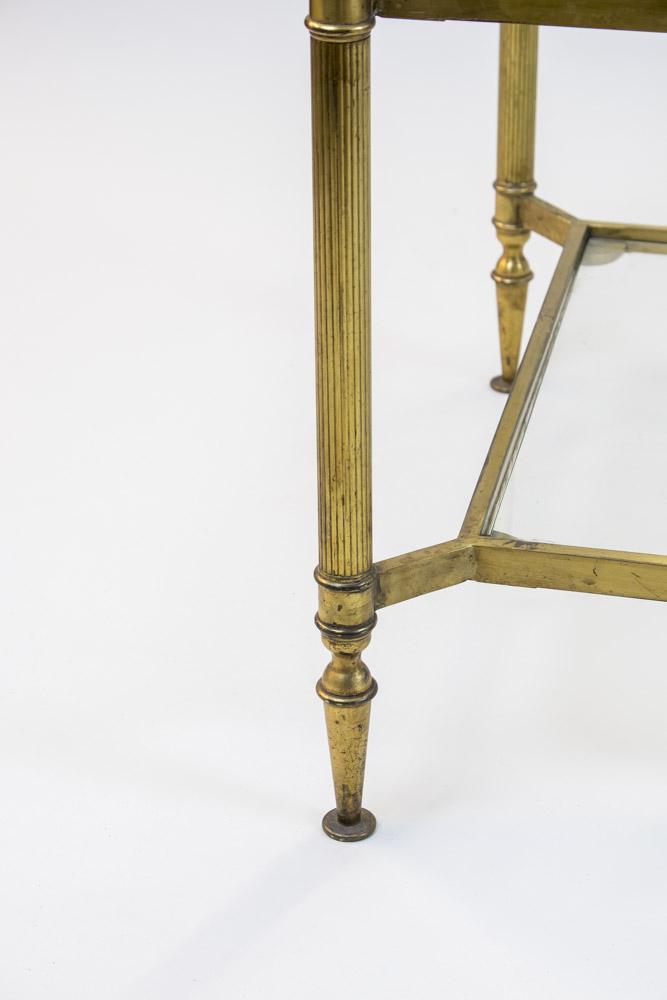 jansen table basse laiton doré pied cannelé