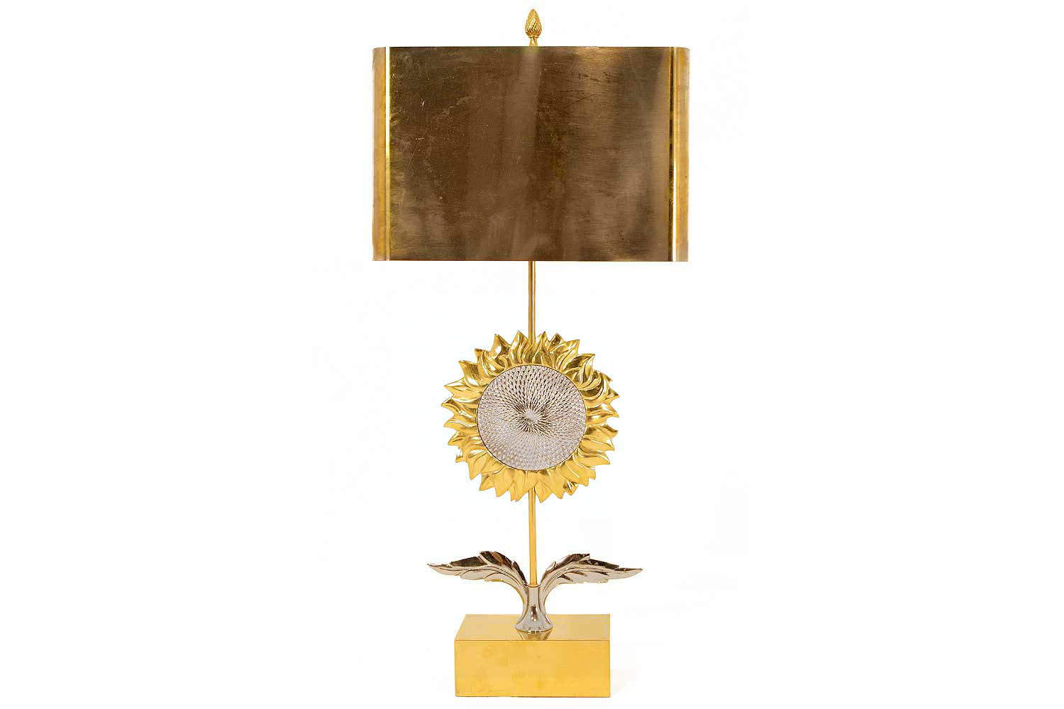 Maison Charles Sunflower Lamp In Two Patina Bronze 1970 S