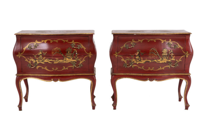 pair commodes pagodas red