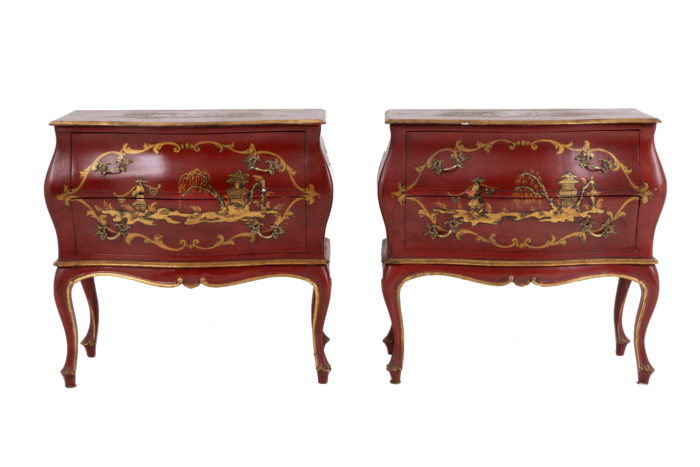 paire commodes pagode rouge