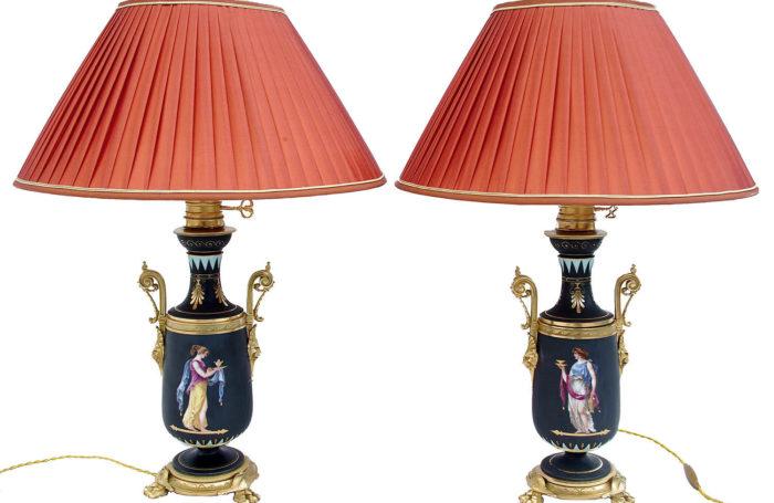 paire lampes porcelaine noir decor pompei