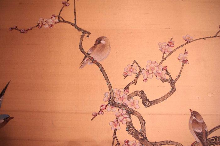 panneau soie cerisier rouge gorge