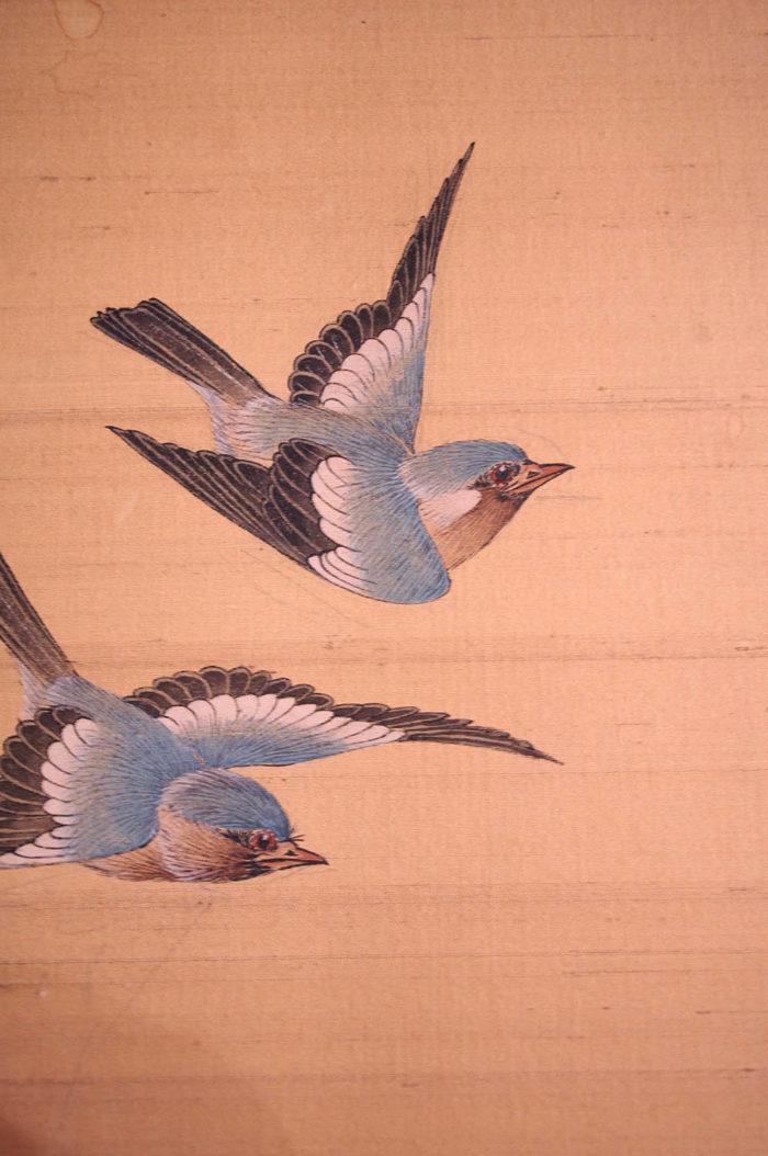panneau soie décor oiseau colibri