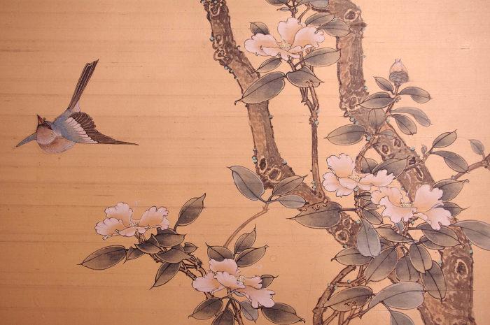 panneau soie fleurs cerisier oiseaux