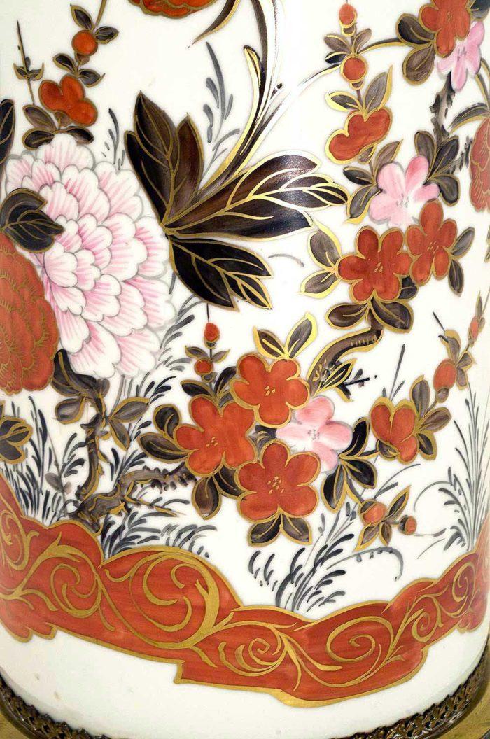 porte-parapluie-porcelaine-orange-or-fleurs