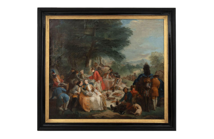 painting van loo halte de chasse french school