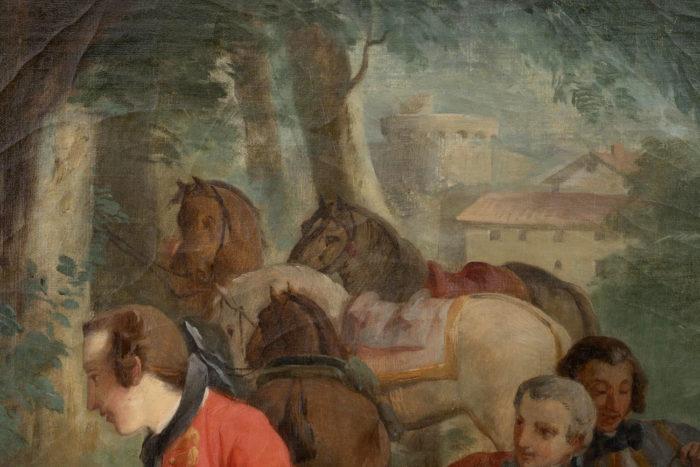 tableau van loo halte de chasse ecole française chevaux fond