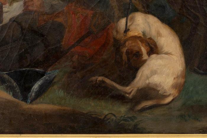 tableau van loo halte de chasse ecole française chien