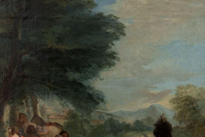tableau van loo halte de chasse ecole française ciel