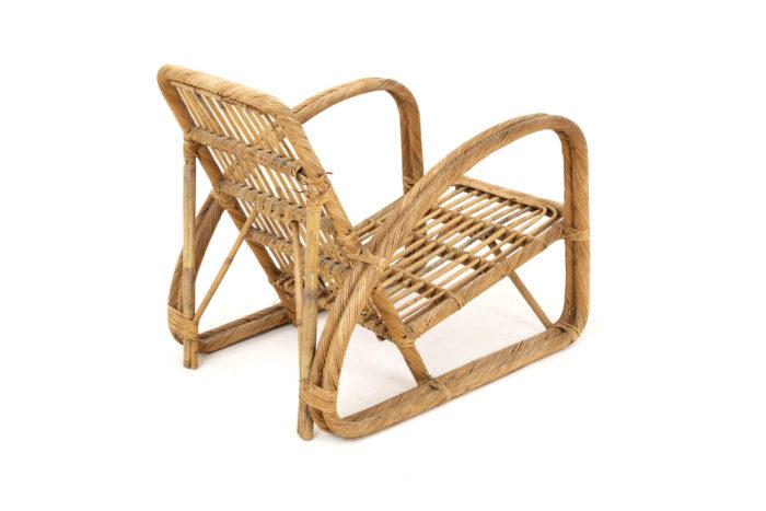 paul frankl fauteuil rotin vintage dos trois quart