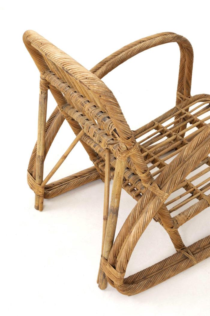 paul frankl fauteuil rotin vintage dos