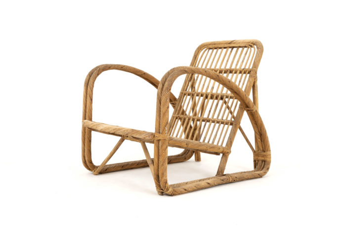 paul frankl fauteuil rotin vintage assise avant