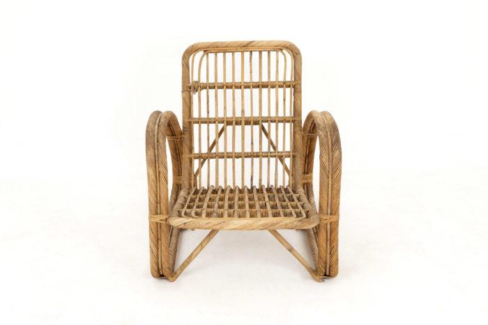 paul frankl fauteuil rotin vintage face