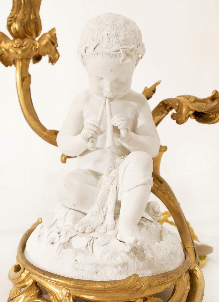 biscuit sèvres porcelaine putto flutte louis XV trompette