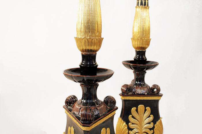candelabra torchieres black earthenware restauration