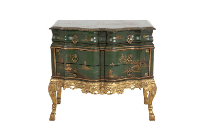 serpentine commode green lacquer english work