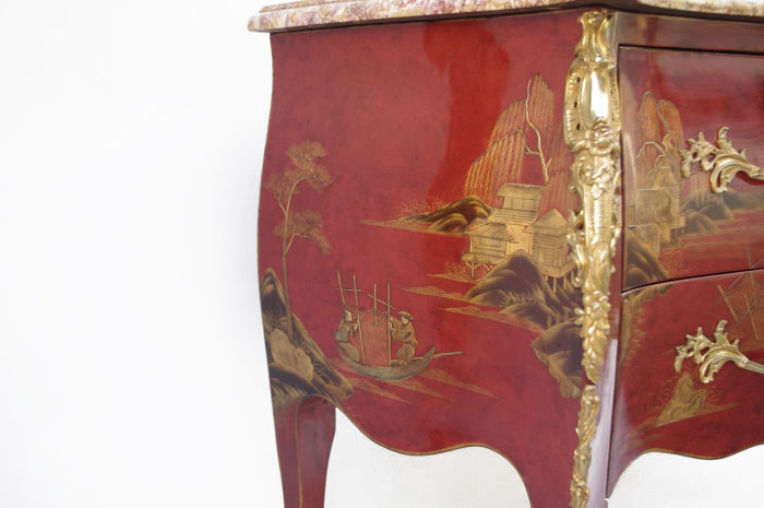 commode sauteuse louisxv laque rouge chinoisant
