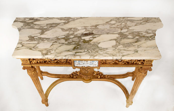 console bois doré louis xvi dessus marbre