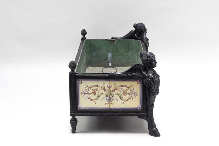 jardinière napoleon iii cotés carreaux faience