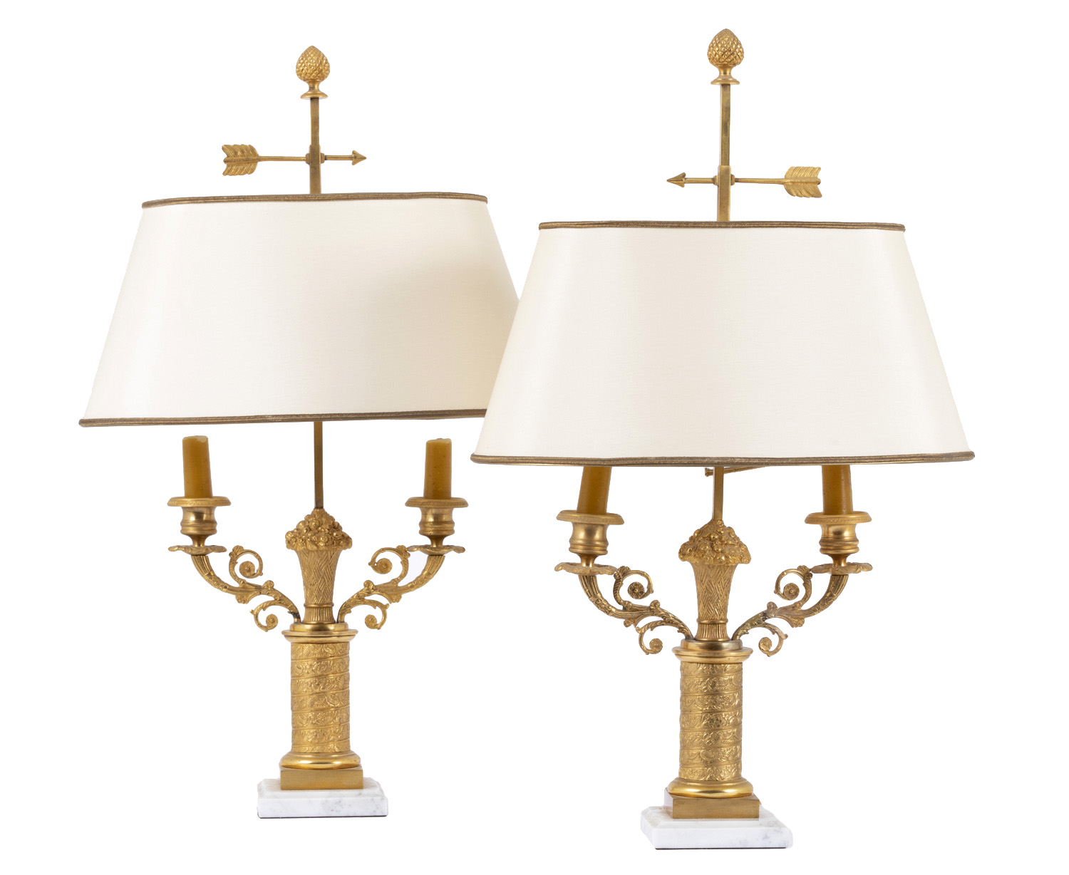 Pair Of Bouillotte Lamps Restoration Style In Gilt Bronze Circa 1950