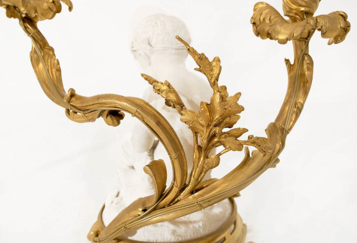 lampe louis xv putto bronze doré détail