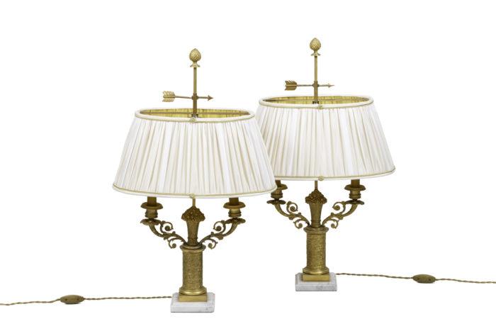 lampes style restauration bronze doré