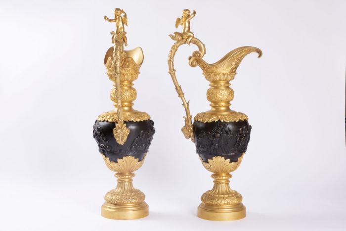 paire aiguière bronze doré patine médaille clodion