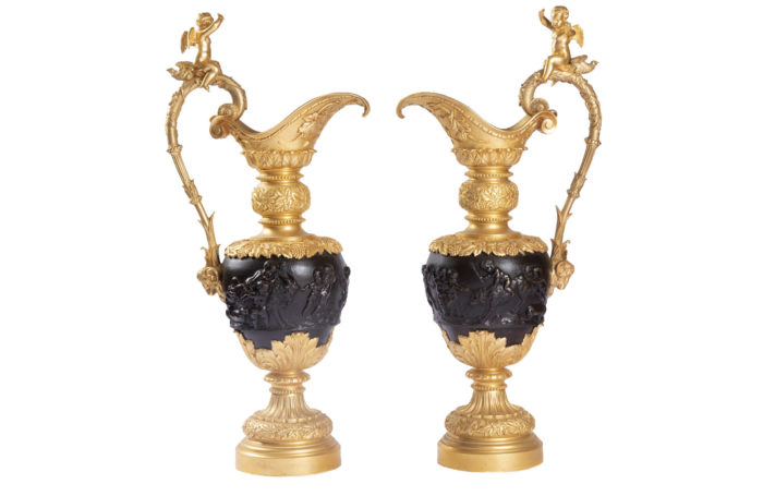 pair ewers two patina bronze clodion
