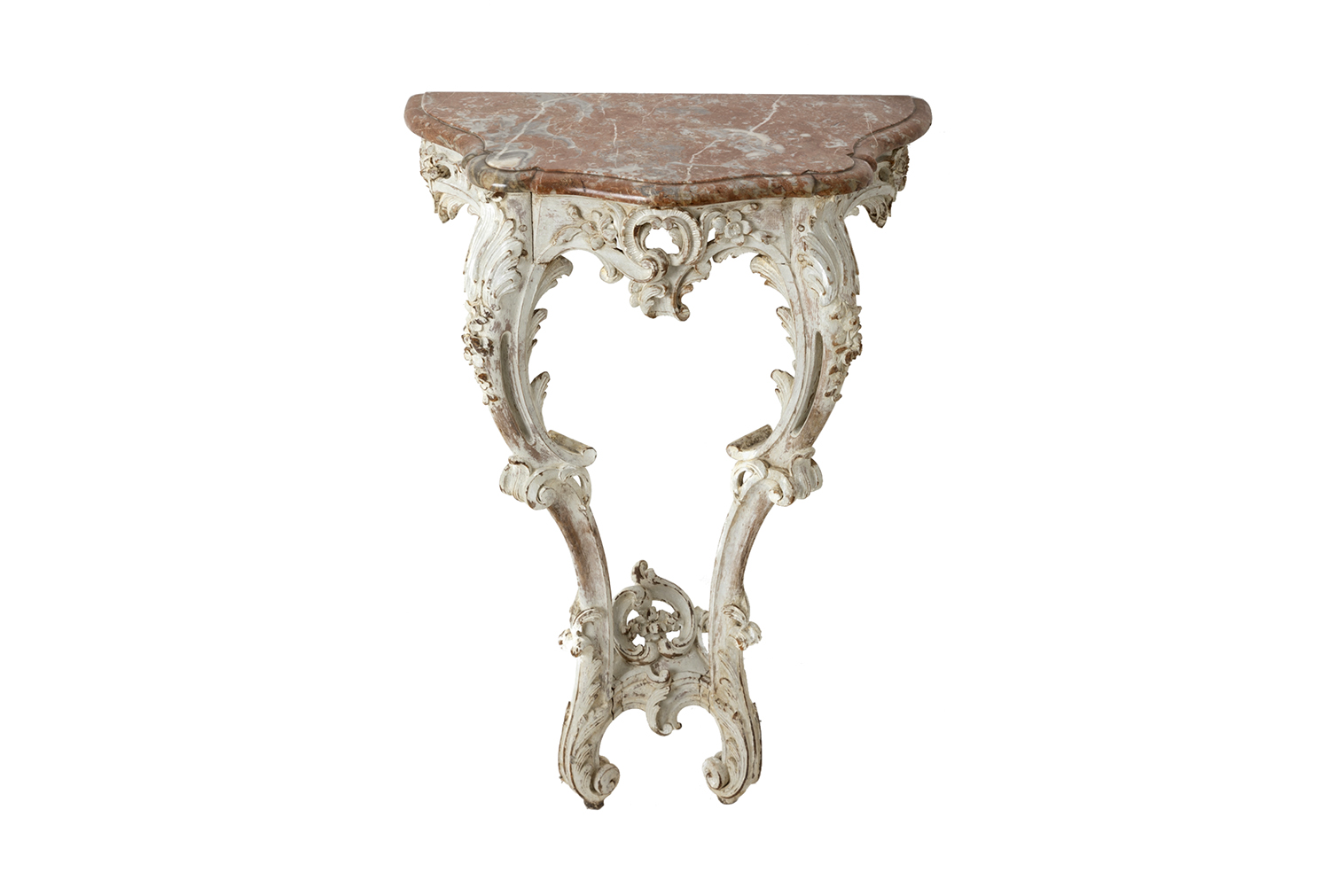 Little Lacquered Louis Xv Style Wall Bracket With Marble Top Circa 1880