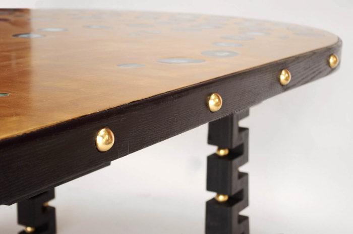 table agata boules laiton bois noirci