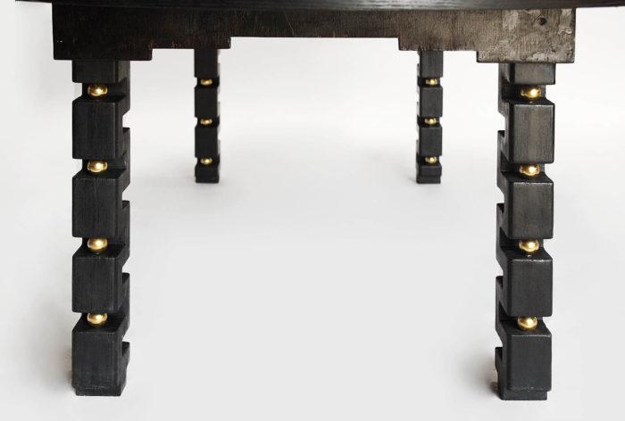 table agates bois noirci boules laiton
