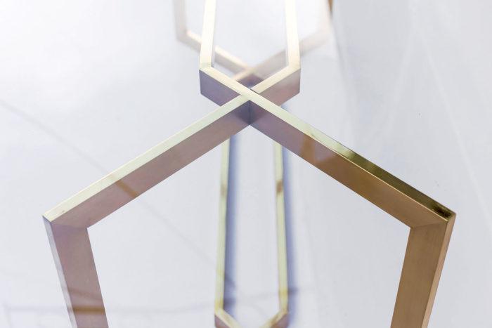 table paul legeard piètement acier doré