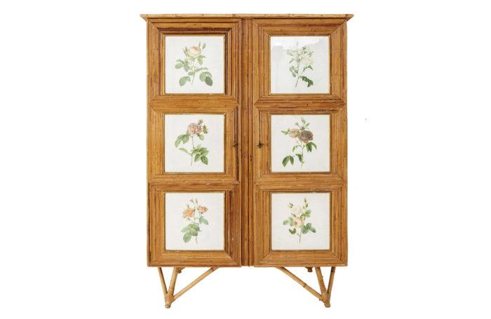 rattan armoire flowers engravings face photo prcpl