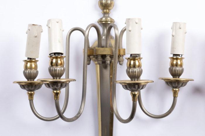 bras de lumière laiton argenté doré applique maison jansen