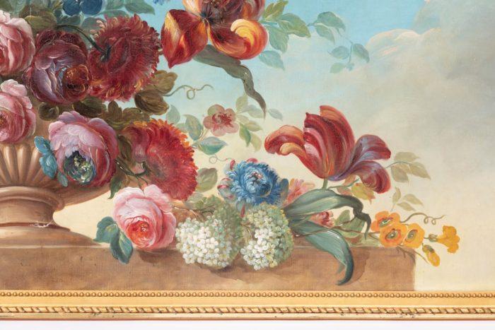fleurs droite vase godrons
